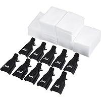 Clip de Removedor de Esmaltes de UV Gel 10 Piezas con 420 Piezas Almohadillas de Algodón de Limpieza de Uña (Negro)