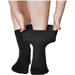 vitsocks Chaussette extra large pour diabétique Femme (LOT de 3) sans compression, pieds gonflés, noir, 35-38