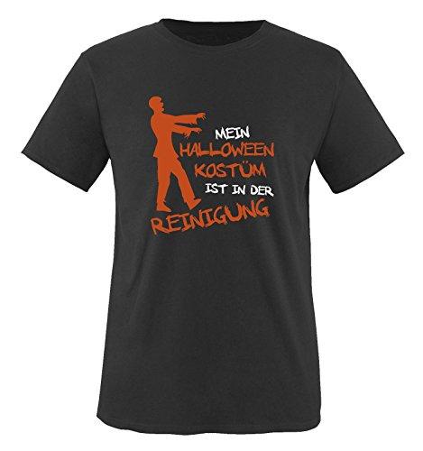 MEIN HALLOWEEN KOSTM IST IN DER REINIGUNG ZOMBIE - Herren T-Shirt Schwarz / Weiss-Orange Gr. S Schwarz / Weiss-Orange (Halloween Meister Der Schule)
