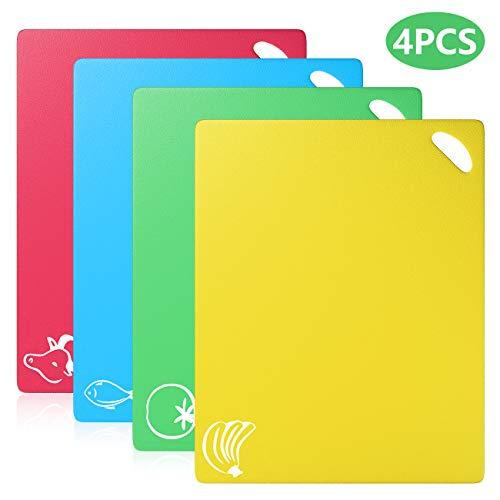 Homealexa Farbkodierte Schneidebretter Set BPA-frei Antibakterielle Kunststoff Küchenbretter Spülmaschinenfeste Frühstücksbretter Hackbretter (4er Set)