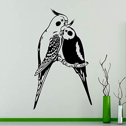 Wiwhy Brids Wand Kunst Aufkleber Paare Papageien Exotische Vögel Vinyl Stickehome Interiowall Art Ideen Zimmer Ration 57X98Cm
