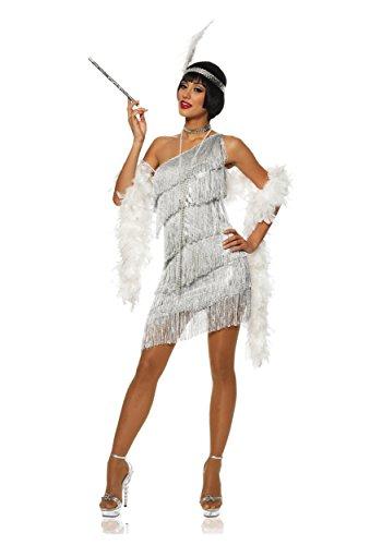 Adult Dazzling Flapper Silver Costume Fancy (Flapper Silver Womens 20s Kostüme)