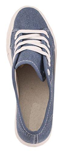Elara Damen Plateau Sneakers | Sportlich Bequeme Schuhe | Schnürer Blue Jeans
