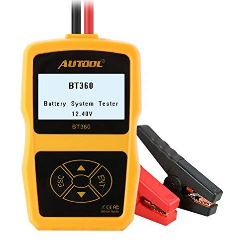 AUTOOL BT360 CCA 100-2400 Batterie Tester, Auto Cranking und Charging System Analyzer Scan Tool mit Drucker für schwere Lkw, Autos, Motorräder, Boote