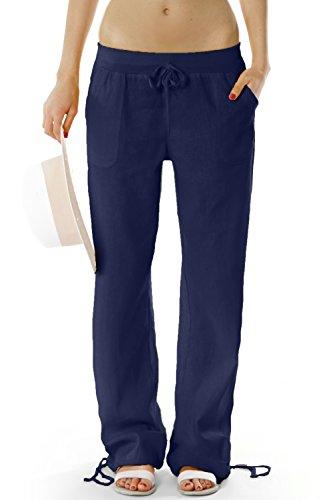 Bestyledberlin Damen Hosen, Leinenhosen, legere Stoffhosen j98a Gr.38/M Damen Hosen dunkelblau