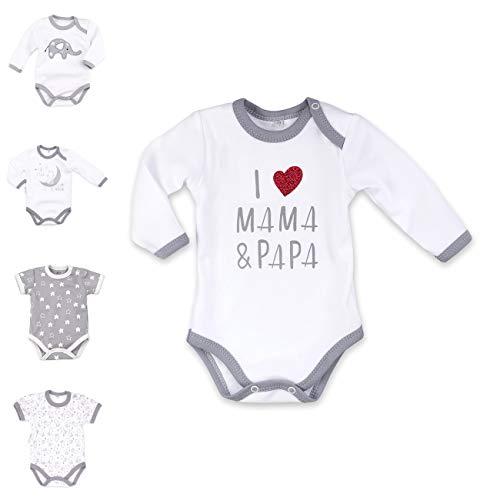 Baby Sweets Baby Langarmbody weiß grau | Motiv: I Love Mama & Papa | Marke Babybody mit Herzmotiv für Neugeborene & Kleinkinder | Größe: 3 Monate (62) ...