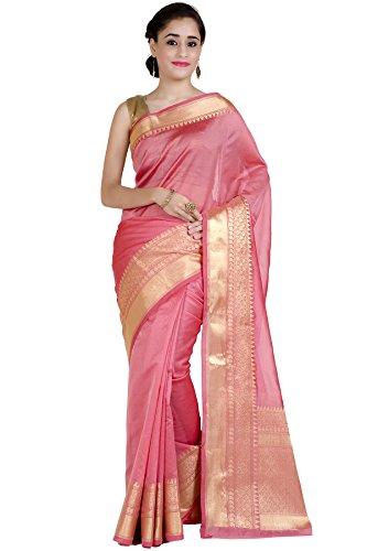 Chandrakala Women's Peach Cotton Silk Banarasi Saree
