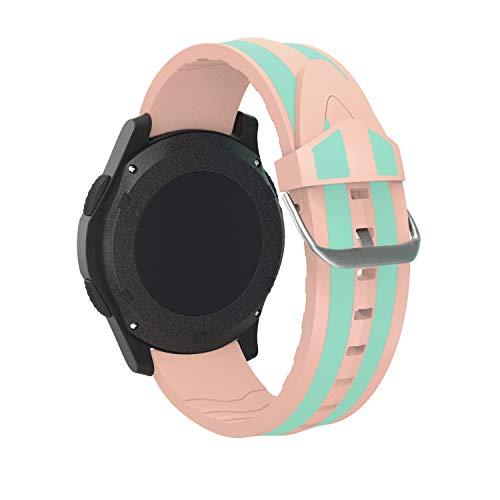 hrenband Ersatzarmband mit Edelstahl Metall Schließe für Samsung Galaxy Watch 46mm / Gear S3 Frontier/Gear S3 Classic/Moto 360 2. Generation (22mm, Rosa + Grün) ()