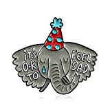 AchidistviQ Männer Frauen Elefanten Buchstaben Emaille Kragen Lapel Pin Abzeichen Broch Schmuck Dekor Grey