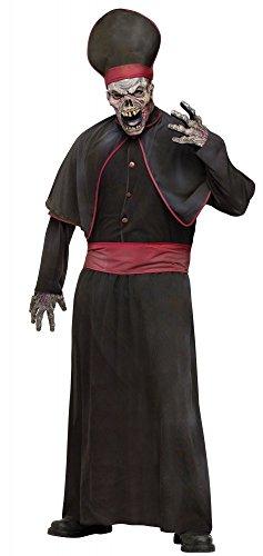 Halloween Herren Kostüm Zombie Priester Horror Bischof Hoepriester Totenschädel, Größe:L/XL