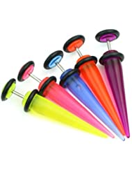 5X 16G 1.2mm UV Falso Expansor Pendiente Tapón Piercing para Oído Dilatador