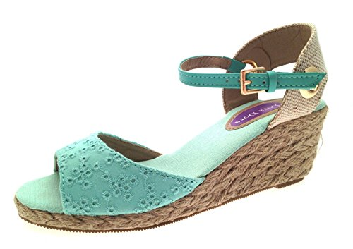 Lora Dora , Damen Sandalen Grün Embroidered Mint -