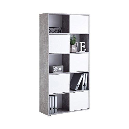FMD Möbel Futura 2 Up 5-türiges Regal, Holz, beton / hochglanz weiß, 90 x 33 x 182 cm 2 Tür Bücherregal