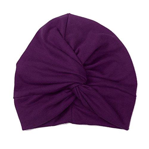 Haorw Baby Mütze Neugeborene Weich Baumwolle Turban Kleinkind Stirnbänder Baby Mädchen Stirnband (Dunkelpurpur)