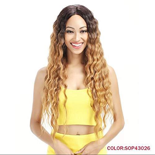 hyfyhtgjj Perücke Hair Produkte Lace Front Perücken 76,2cm lang gewellt DARK Root Synthetische Perücken für Frauen 2Farben Ombre Blond Schwarz Haar Perücke