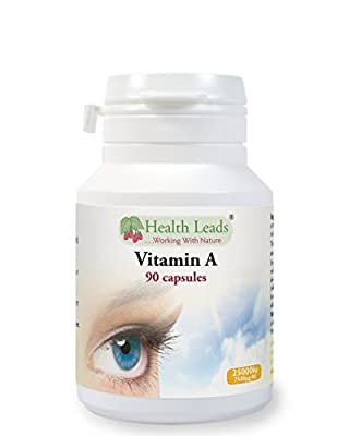 High Strength Vitamin A 7500?g/mcg (=25,000iu) - 90 capsules (Magnesium Stearate Free) from Health Leads UK