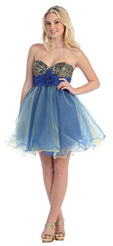 Nachtigall+Lerche Tüllkleid kurz Petticoat-Kleid mit Tüllrock 50er Jahre Retro sexy Tanzkleid Tütü Tutu Ballettkleid Damen Partykleid Outfit für Hochzeit blau