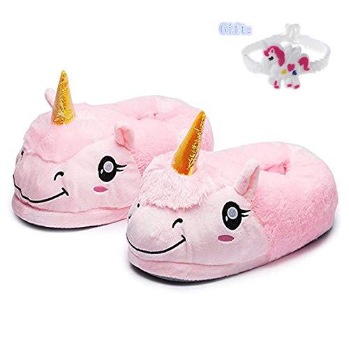 Pantofole Unicorno Unisex-Bambino - Taglia Unica 25-33 Ciabatte da Casa Invernali Peluche - Cosplay Taglia Regali di Festa (Rosa Chiuse)