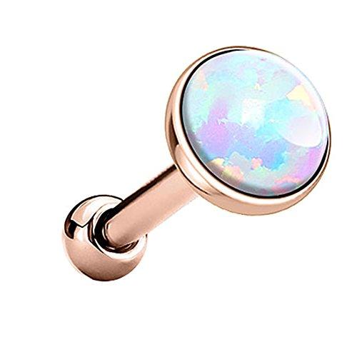 Piersando Tragus Piercing Helixpiercing Helix Ohr Cartilage Knorpel Stecker mit flachen Opal Steinen Rosegold Weiß 3mm