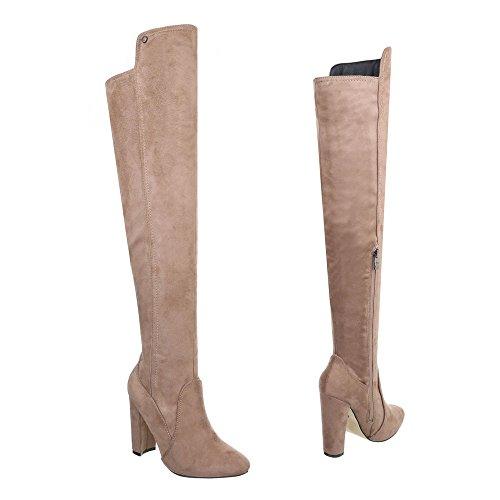 Overknees Damenschuhe Klassischer Stiefel Pump High Heels Reißverschluss Ital-Design Stiefel Hellbraun