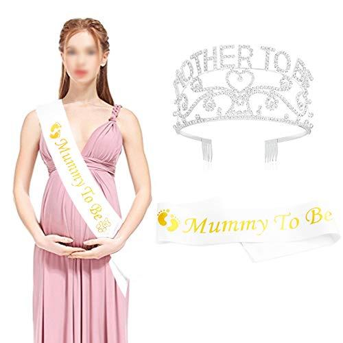 Howaf Metall Mutter zu Sein Tiara Herzen Krone mit funkelnden Strass und Mummy to Be Schärpe für Baby Party Zukunft werdende Mama Dekorationen Geschenk