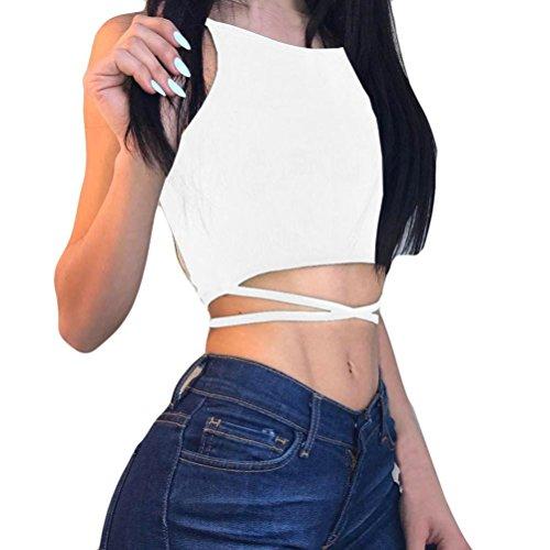Tanktops Damen Dasongff Damen Bandage BH Tank Tops Reizvolles Yoga Oberteile Sport Tops Fitness Workout Top Mode Leibchen Ärmelloses Weste T-Shirt Bluse (S, Weiß-B)