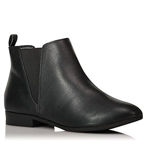 Womens Ladies Faux Leather Suede Chelsea Ankle Boots Black Brown with Pull On Elasticated Tab Low Block Flat Heel & Rounded Toe School Work Size 3 4 5 6 6.5 7 8 9