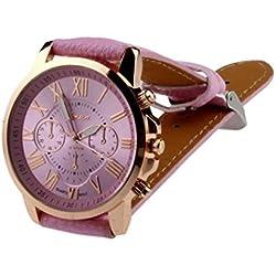 kingko® Uhren,Neue Damenmode Genf roemischen Ziffern-Leder Analog Quarz Rosa Armbanduhren