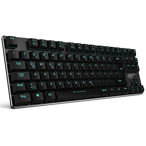 Mechanische Tastatur HAVIT LED Gaming tastatur (QWERTZ, DE-Layout), extrem dünn und leicht, Kailh Neueste Low Profil-Tastatur (Blue Switches), Anti-Ghosting 88 Tasten mit USB-Kabel (Tippen Led-licht)