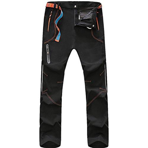Zhhlaixing Uomo sportivo Pantaloni Men's Night Reflective Lightweight Quick Drying Breathable Waterproof Hiking Camping Pants Trousers Sportswear Black