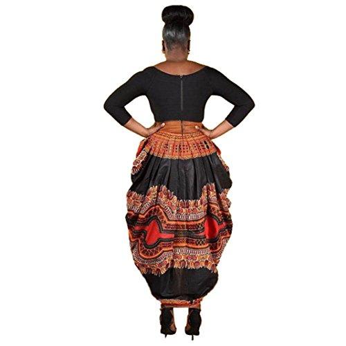 Rcool Frauen unregelmäßige Afrikanischen Print Kleid Casual Langarm Minikleider (Lange Lila Damen Dashiki Kleid)