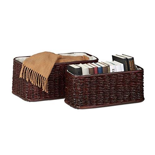 Relaxdays Korb Set Buri, 2 geflochtene Dekokörbe, Flechtkörbe mit Stoffbezug, dekorative Aufbewahrungskörbe, rotbraun