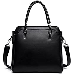ADEMI Damen Leder Handtaschen Aktentasche Geldbörse Schultertaschen Tragetaschen,Black-M
