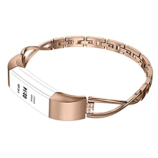 Wearlizer For Fitbit Alta Strap Women/Fitbit Alta HR Strap, Metal Replacement Bands Wristbands Metal Strap for Fitbit Alta Small with Gift Box - Silver/Gold / Rose Gold