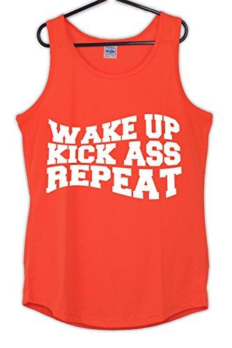 Igtees - T-shirt de sport - Femme Orange (White Print)