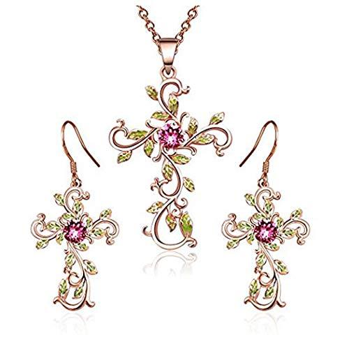 ngelady Halsketten und Ohrring Set Kette und Ohrring für Damen Frauen in Roségold | Zarte Schmuck Set Geschenk für Frauen Mutter Frauen
