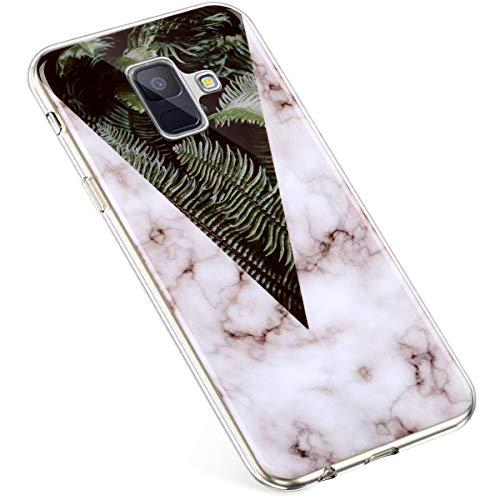 Uposao Kompatibel mit Samsung Galaxy A8 2018 Hülle Silikon Transparent Silikon Schutzhülle Durchsichtig Kratzfest TPU Bumper Crystal Clear Case Cover Handytasche Handyhülle,Marmor Blatt