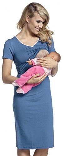 887f545565e8e Happy Mama. Women's Maternity Nursing Breastfeeding Nightdress Shirt Gown.  274p (Blue Jeans,