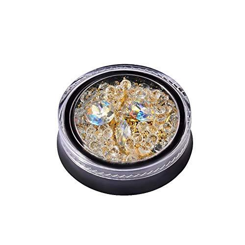 Rungao 1 Boîte Nail Art 3d Tips Transparent mixte Boîte de décoration avec perles Doré coloré strass Paillettes Clous DIY Manucure