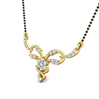 Candere By Kalyan Jewellers Martha 14k Yellow Gold and Diamond Mangalsutra Necklace