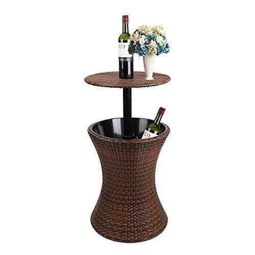 Display4top 3-in-1 Mesa de jardín Enfriador de Bebidas por Hielo - Mesa Nevera para Exterior, de 44 x 44 x 56 cm