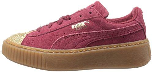 PUMA Kids  Suede Platform Glam Sneaker  Team Gold-Tibetan Red  11 M US Little Kid