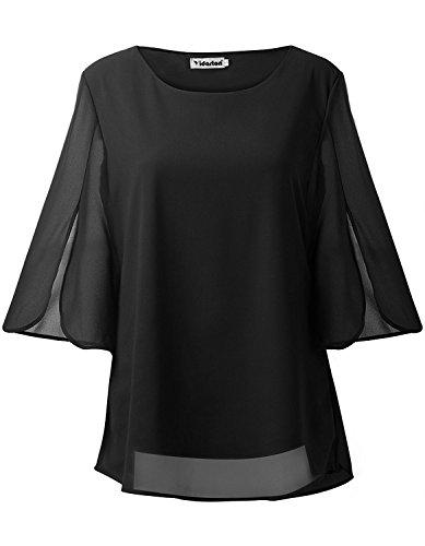 Yidarton Damen Bluse Chiffon Casual Shirt Rundhals 3/4 ?rmel Loose Fit Hemd Oberteil Tops - Chiffon-hemd