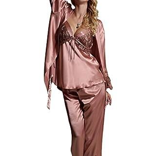 Amybria Frauen Qualitäts Seide Spitze Lange Hülsen Mischung 3Pcs Pyjama Set/Kleid Für Die Hochzeit Rosa Größe S/36