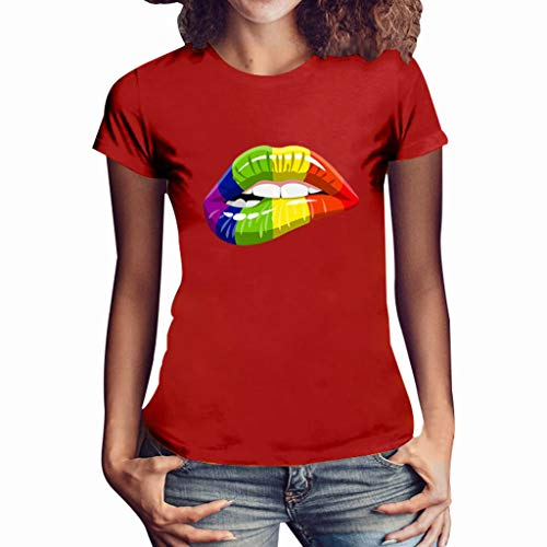 routinfly Frauen Kurzarm T-Shirt,T-Shirt mit Lippenprint Lässiges T-Shirt mit Rundhalsausschnitt Plus Size Lips Print Shirt Kurzarm T-Shirt Bluse Tops Buntes Muster -