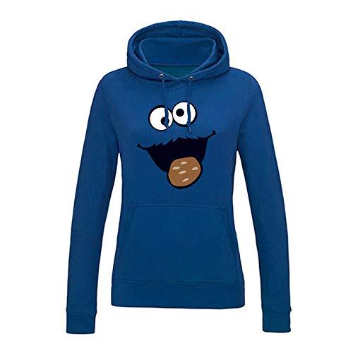 Hoodie Krümelmonster Kekse Karneval Fasching Kostüm Sesamstraße Damen XS - 2XL Verkleidung Gruppen-Kostüm Rosenmontag Größe:L, Farbe Hoodies Lad JH001F / ohne Logofarbe:royalblau (royal blue)