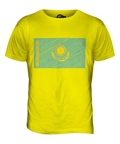 CandyMix Kasachstan Kritzelte Flagge Herren T Shirt Zitronengelb
