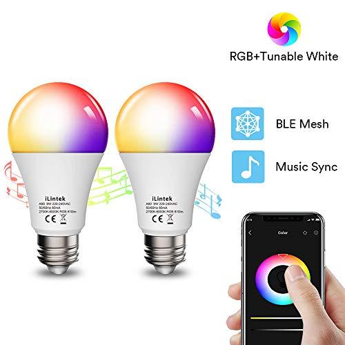 Smart LED-Lampe 2er iLintek Bluetooth Smart Lampen Glühbirne E27 Licht 9W ersetzt 60 Watt, Sync mit Musik Mehrfarbige Dimmbare LED Birne 2700K-6000K, ohne Hub benötig, Warmweiß Neutralweiß Kaltweiß