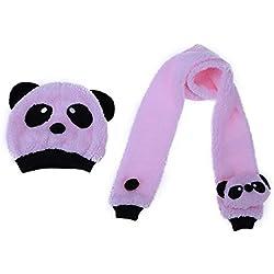 everpert Super suave y cálido niños Lana Panda gorro con bufanda gorro de dibujos animados rosa rosa
