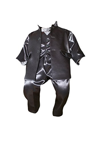 Party Outfit Baptism Boys Suit 5 Piece Grey-White Baby Suit Wedding K10